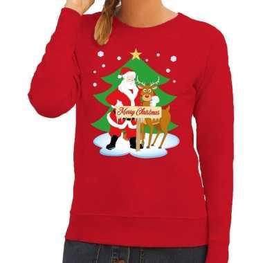 Foute kersttrui rood met de kerstman en rudolf voor dames kopen