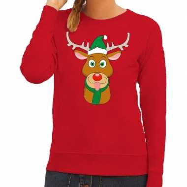 Foute kersttrui rood met ruldolf het rendier met groene muts voor dam