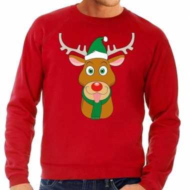 Foute kersttrui rood met ruldolf het rendier met groene muts voor her