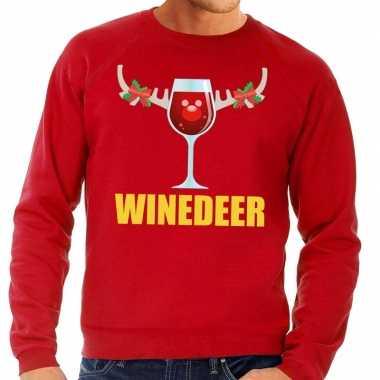 Foute kersttrui rood met wijntje heren kopen