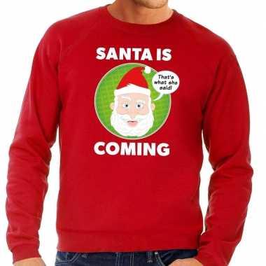 Foute kersttrui rood santa is coming voor heren kopen