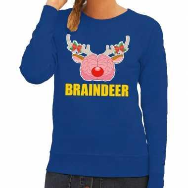 Foute kersttrui / sweater braindeer blauw voor dames kopen