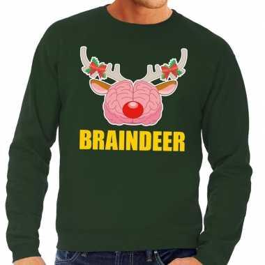 Foute kersttrui / sweater braindeer groen voor heren kopen