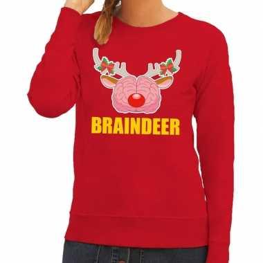 Foute kersttrui / sweater braindeer rood voor dames kopen