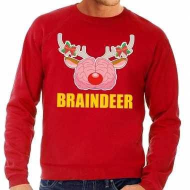 Foute kersttrui / sweater braindeer rood voor heren kopen