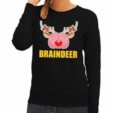 Foute kersttrui / sweater braindeer zwart voor dames kopen