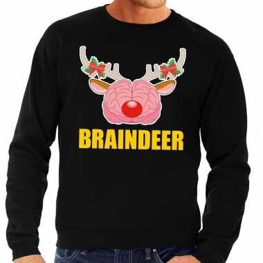 Foute kersttrui / sweater braindeer zwart voor heren kopen