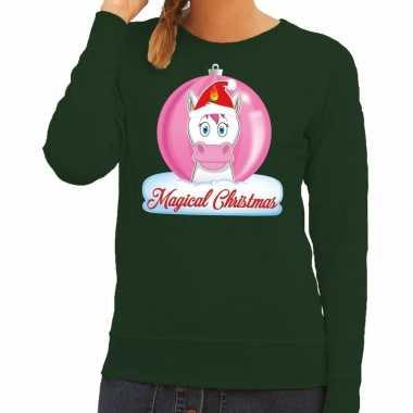 Foute kersttrui sweater eenhoorn magical christmas groen voor dames