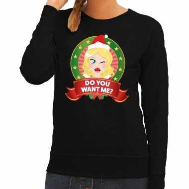 Foute kersttrui zwart do you want me voor dames kopen