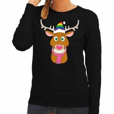 Foute kersttrui zwart gay ruldolf regenboog muts en roze sjaal voor d