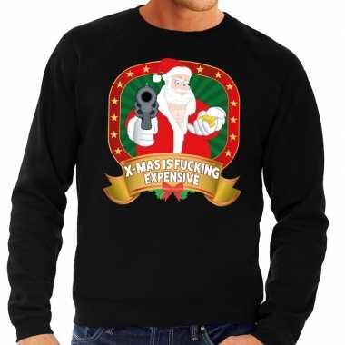Foute kersttrui zwart kerstman met pistool heren kopen