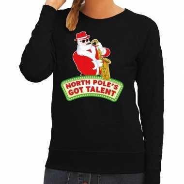 Foute kersttrui zwart kerstman met saxofoon dames kopen