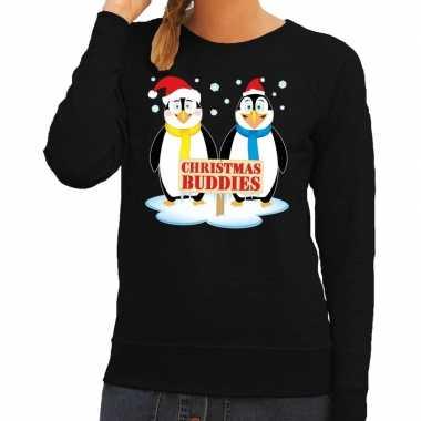 Foute kersttrui zwart met 2 pinguins voor dames kopen