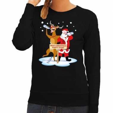 Foute kersttrui zwart met een dronken kerstman en rudolf voor dames k