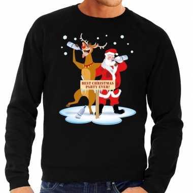 Foute kersttrui zwart met een dronken kerstman en rudolf voor heren k
