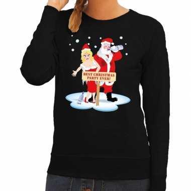 Foute kersttrui zwart met een dronken kerstman en zijn vrouw voor dam