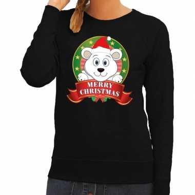 Foute kersttrui zwart met ijsbeertje voor dames kopen
