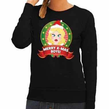 Foute kersttrui zwart met kerstvrouwtje voor dames kopen