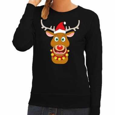 Foute kersttrui zwart met ruldolf het rendier met rode muts voor dame