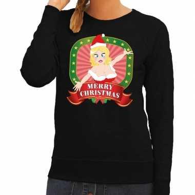 Foute kersttrui zwart met sexy kerstvrouw voor dames kopen