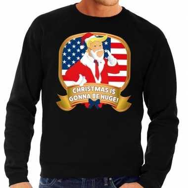 Foute kersttrui zwart met trump christmas is gonne be huge heren kope
