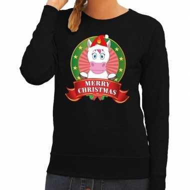 Foute kersttrui zwart met unicorn voor dames kopen