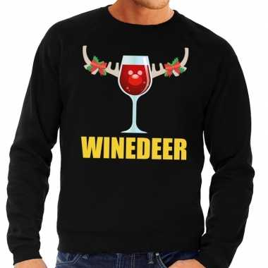 Foute kersttrui zwart met wijntje heren kopen