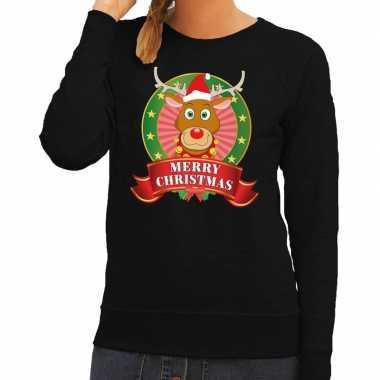 Foute kersttrui zwart rudolf het rendier voor dames kopen