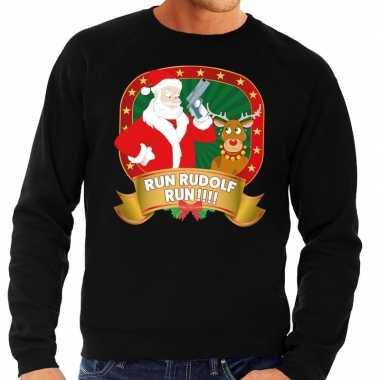 Foute kersttrui zwart rudolph en kerstman met pistool heren kopen