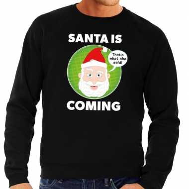 Foute kersttrui zwart santa is coming voor heren kopen