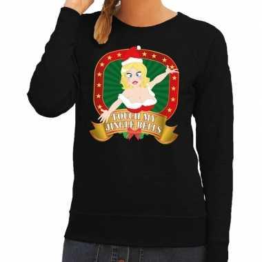 Foute kersttrui zwart touch my jingle bells voor dames kopen