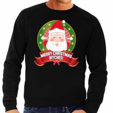 Foute kersttrui zwart verliefde kerstman heren kopen