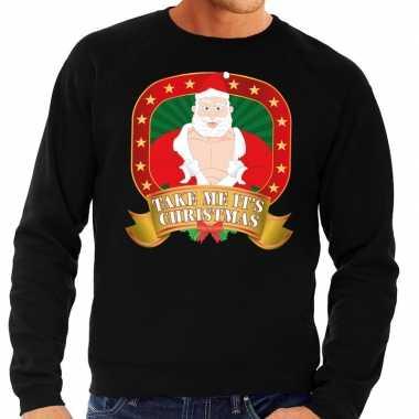 Foute kersttrui zwart vieze kerstman heren kopen