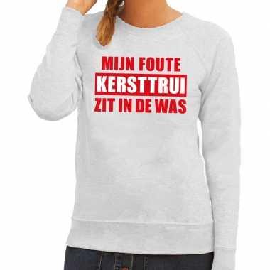 Grappige tekst kersttrui in de was voor dames grijs kopen