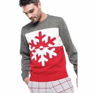 Grijs/rode foute/lelijke gebreide kersttrui met sneeuwvlok print voor