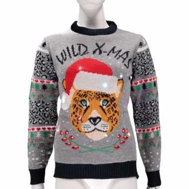 Grijze foute kersttrui wild x-mas met verlichting kopen