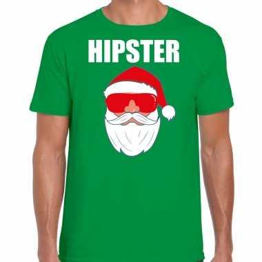 Groen kersttrui / kerstkleding hipster voor heren met kerstman met zonnebril kopen