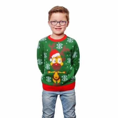 Groene foute kersttrui met rendier voor kids
