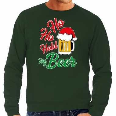 Groene kersttrui / kerstkleding ho ho hold my beer voor heren grote maten kopen