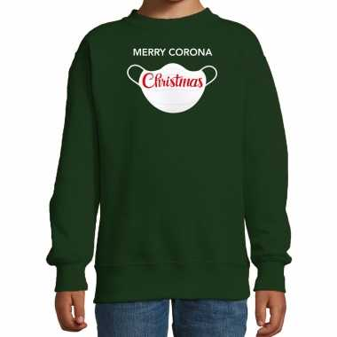 Groene kersttrui / kerstkleding merry corona christmas voor kinderen kopen