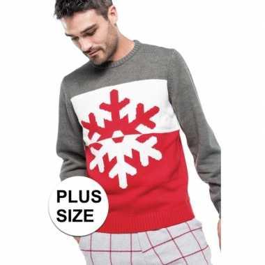 Grote maat grijs/rode foute/lelijke gebreide kersttrui met sneeuwvlok