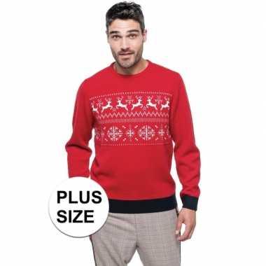 Grote maat rood/witte foute/lelijke gebreide kersttrui met noorse pri