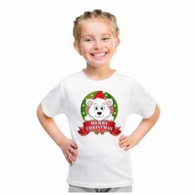 Ijsbeer kerstmis shirt wit voor jongens en meisjes kopen