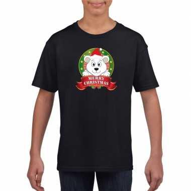 Ijsbeer kerstmis shirt zwart voor jongens en meisjes kopen