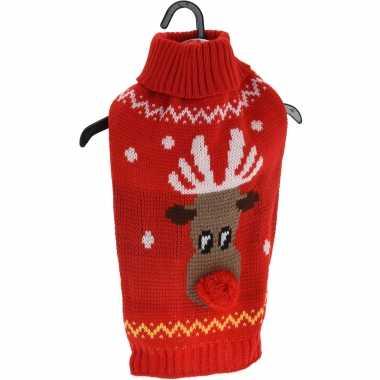 Kerstkleding voor honden en katten rode kersttrui met rendier kopen