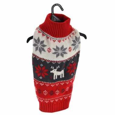 Kerstkleding voor honden/katten rode kersttrui met rendiertes en sneeuwvlokken kopen