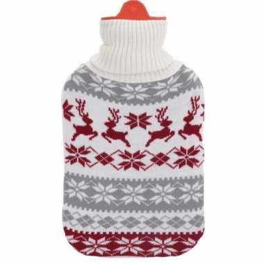Kerstkruik grijs/wit/rood met rendieren kersttrui hoes kopen