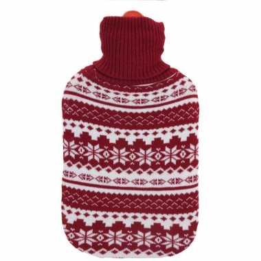 Kerstkruik met rood/witte sneeuwvlokken kersttrui hoes kopen