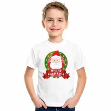 Kerstman kerstmis shirt wit voor jongens en meisjes kopen