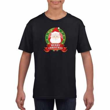 Kerstman kerstmis shirt zwart voor jongens en meisjes kopen